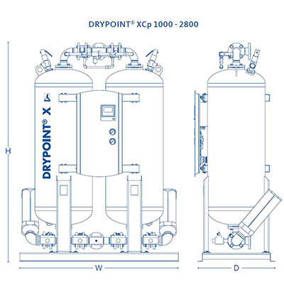 DRYPOINT XCp 1000-2800 Dimensions